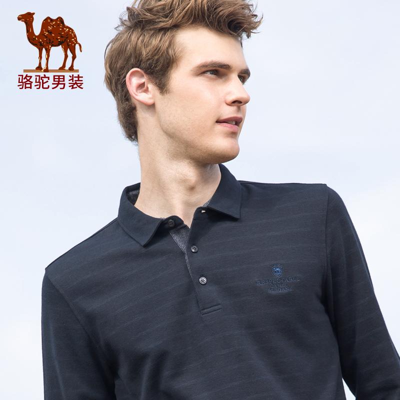 骆驼秋季休闲翻领长袖舒适条纹洗水t恤