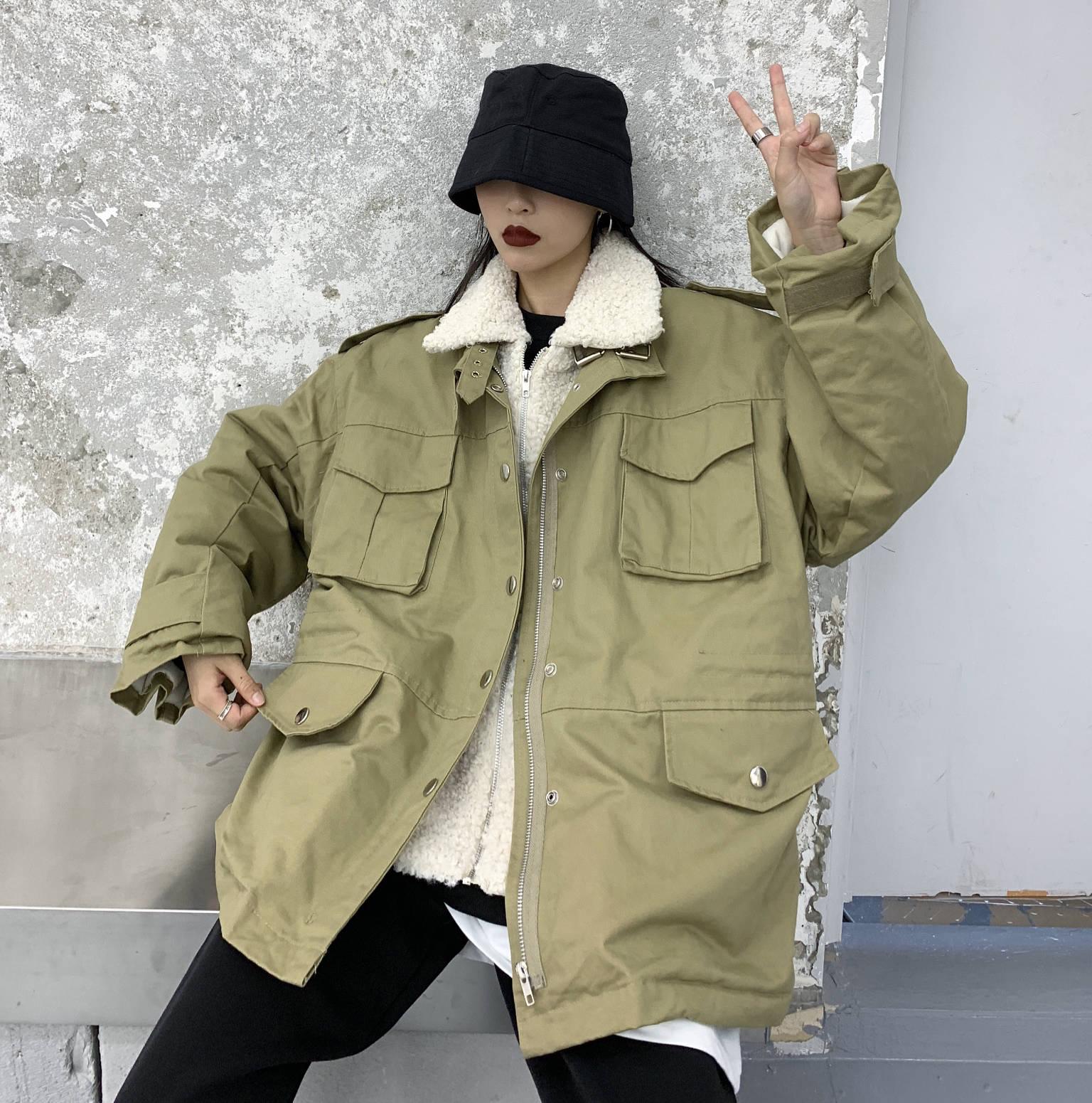实拍 2019年冬装新款派克短款工装风韩版港风毛领外套潮-思宇服饰-