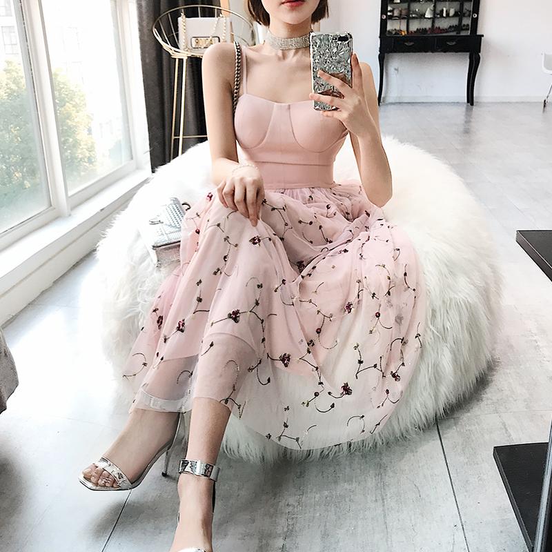 董小姐臻品女装2018春夏新款刺绣吊带抹胸网纱礼服裙连衣裙0