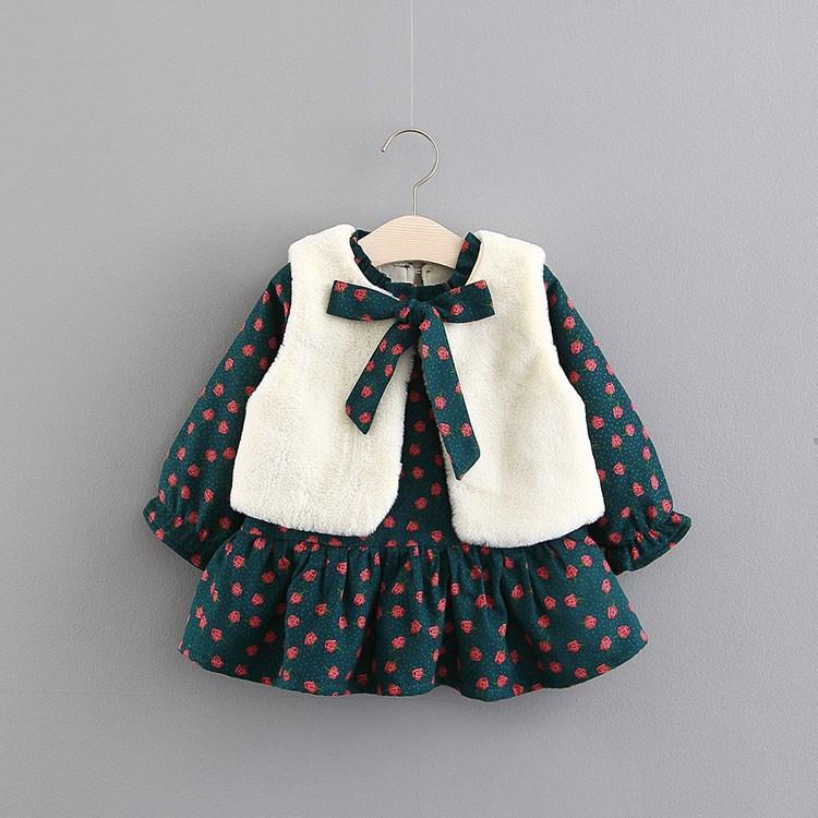 儿童连衣裙女童秋冬装新款01-3岁女宝宝加厚加绒冬裙婴儿冬季长裙