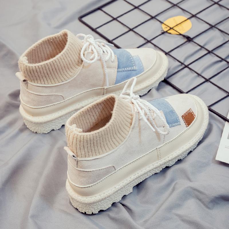 2018高帮帆布鞋女学生韩版原宿ulzzang保暖小白棉鞋冬季鞋子板鞋