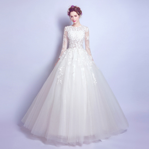 Lace Flower Princess Bride Long Sleeve Spring Wedding Dress 2118t