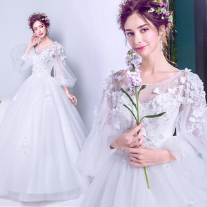 European Classic Bride Long Sleeve Spring Wedding Dress 9052t
