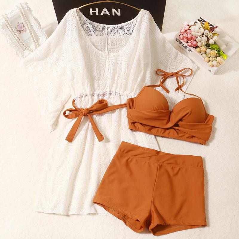 泳衣女遮肚显瘦ins风仙女范分体三件套比基尼罩衫韩国泡温泉保守