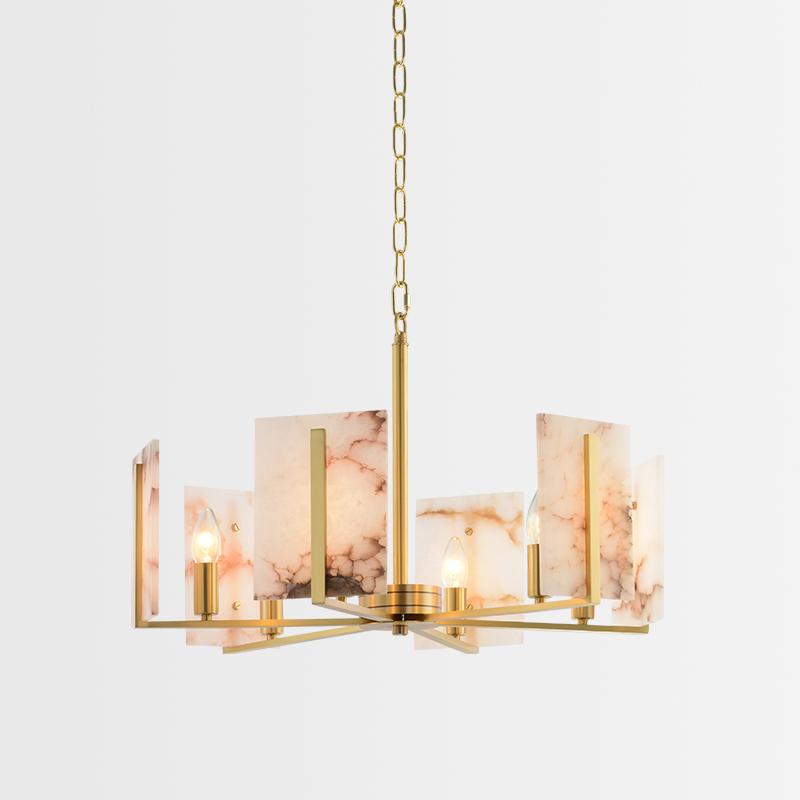 仕亿灯饰 设计师现代创意新中式云石客厅餐厅卧室简约全铜吊灯-仕亿灯饰