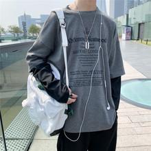 日系假两件kf2袖t恤男x7牌ins宽松拼色衣服潮牌韩款休闲外套