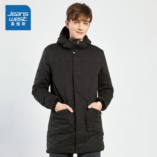 真维斯男装 冬装 时尚舒适锦棉混纺间棉外套