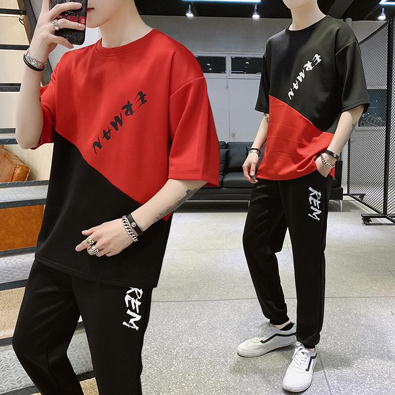 男士短袖T恤夏季韩版潮流一套装夏装5五分袖学生休闲运动上衣帅气