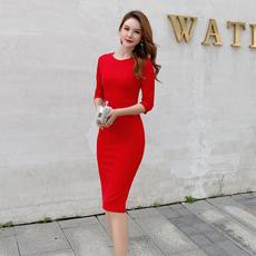 2020年新款秋冬裙子七分袖修身中长裙中袖紧身裙气质包臀连衣裙女