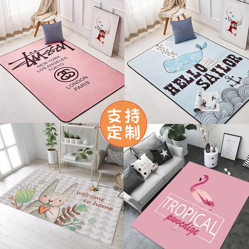 ins风地毯卧室满铺可爱少女房间床边小地毯网红同款直播拍照地垫