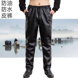 男士皮裤中老年宽松休闲挡风加绒加厚保暖防油防水机车耐磨工作裤