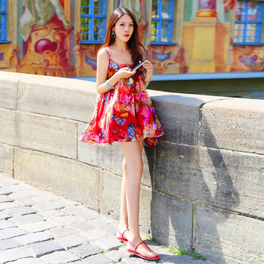 T-Baby度假裙 红色碎花雪纺性感吊带连衣裙飘逸 2018夏季新款女装