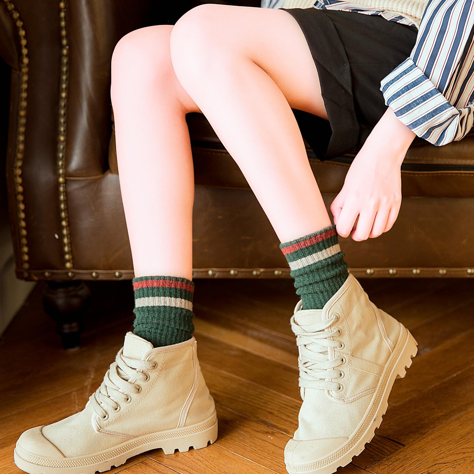 堆堆袜女韩国秋冬季潮个性日系羊毛袜条纹韩版加厚中长筒保暖袜子