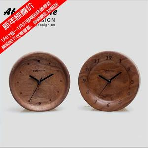 Home decorations log retro creative fashion student small alarm clock bedside mute solid wood clock cute pendulum clock