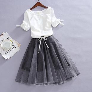 2020夏季新款韩版大码短袖宽松雪纺衫女显瘦网纱蓬蓬连衣裙两件套图片
