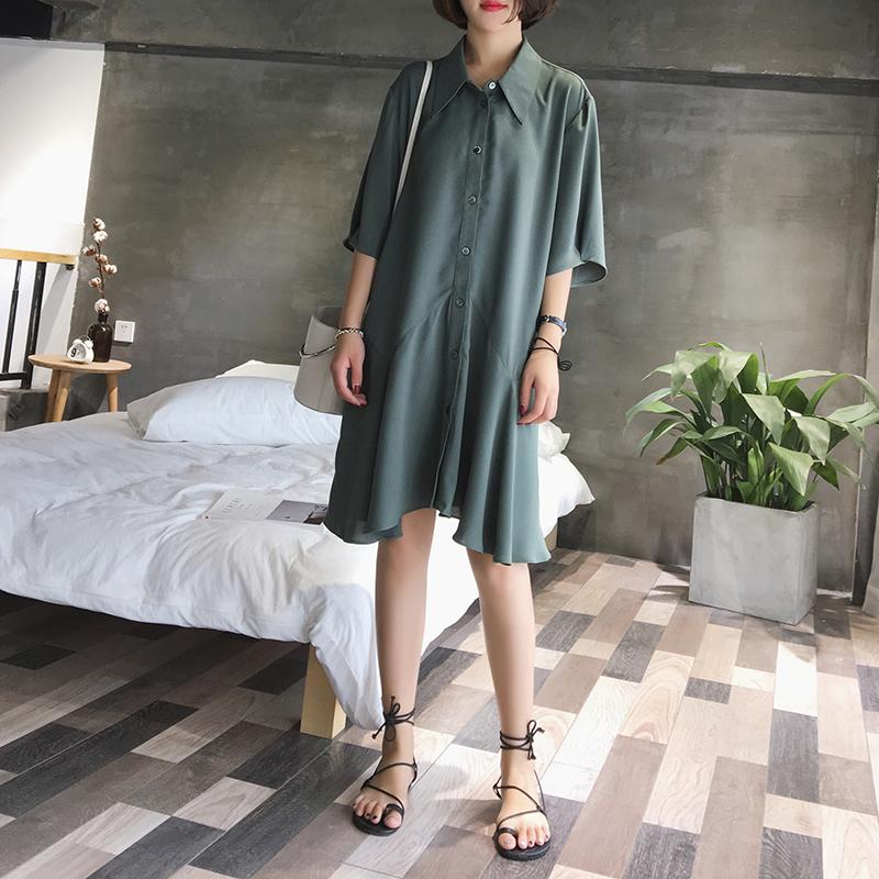 A7SEVEN 气质显瘦中长款短袖衬衫连衣裙女夏季韩版雪纺裙鱼尾裙子