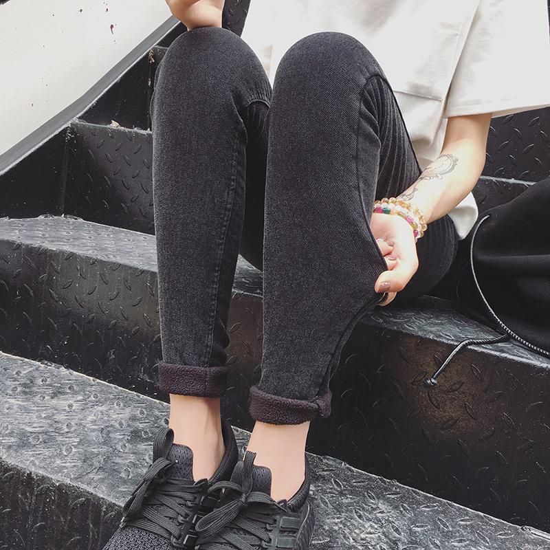 加绒加厚水洗雪花外穿打底裤女秋冬韩版弹力显瘦休闲牛仔铅笔裤潮