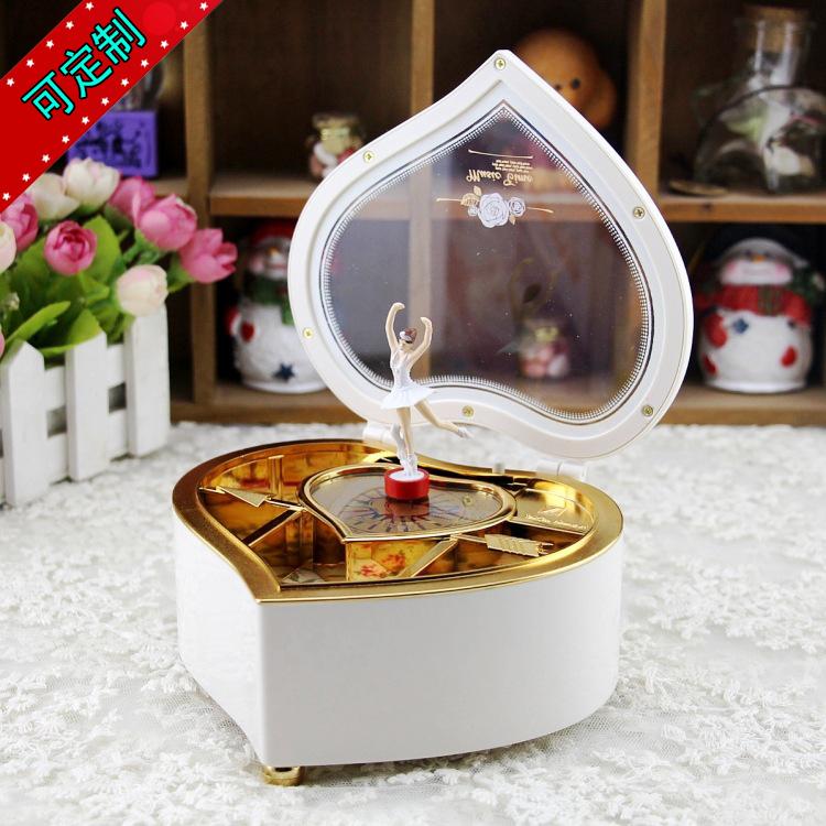 创意爱心音乐盒 旋转跳舞芭蕾女孩八音盒 送闺蜜女友生日礼物