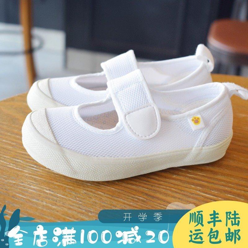 2019夏季六一日系网面透气幼儿园室内小白鞋橡胶防滑底魔术贴童鞋