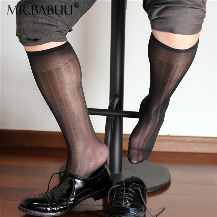 独家新款男士宽条纹黑白藏青酒红四色微透商务正装中长筒锦纶丝袜