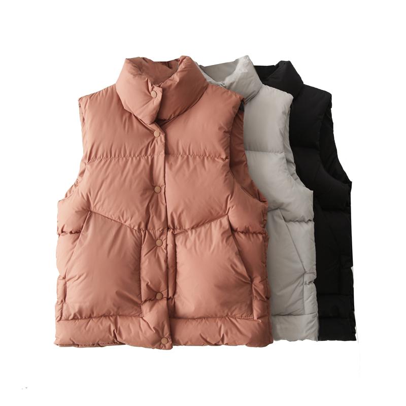 冬季纯色宽松显瘦复古立领加厚棉服背心马甲女短款学生面包服外套