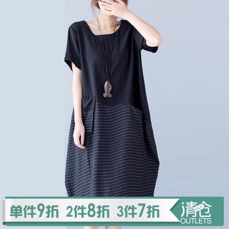 2019夏装新款宽松文艺条纹棉麻连衣裙短袖气质拼接中长款大码女装