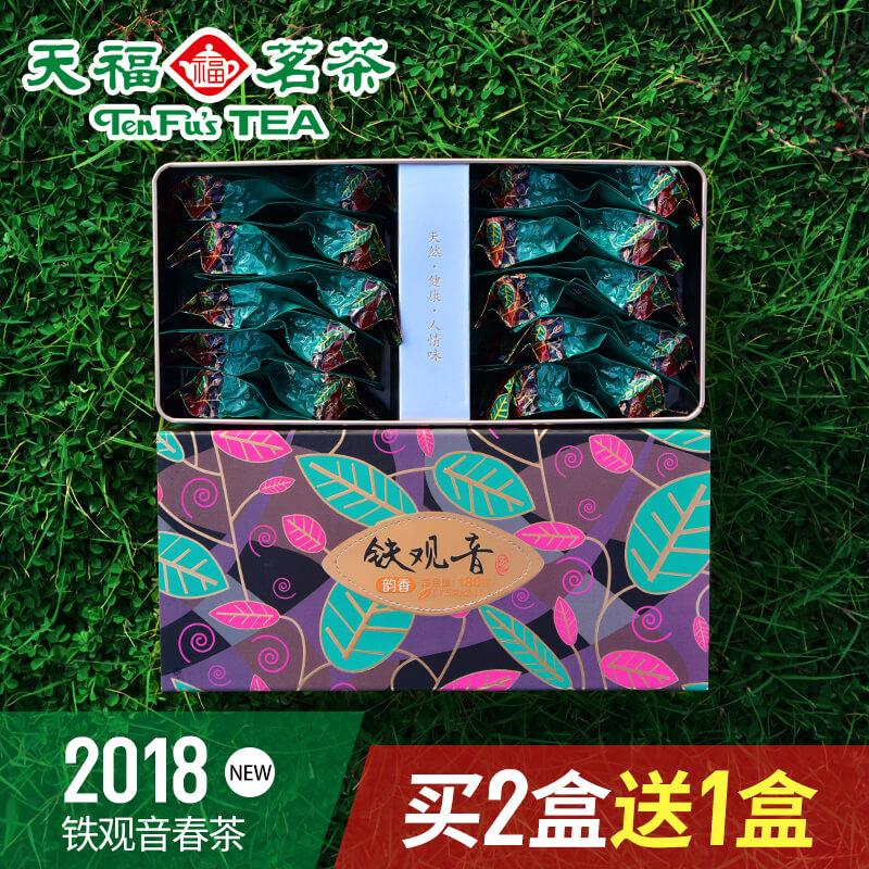天福茗茶 茶叶铁观音 安溪铁观音 2018春茶 乌龙茶礼盒装180g