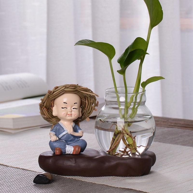创意玻璃摆件和尚小花器家居装饰品茶桌绿萝花插花瓶陶瓷水培容器