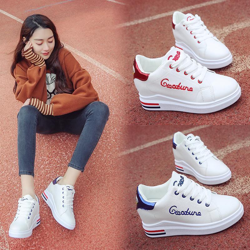 2018春秋季新款百搭韩版白鞋子内增高小白鞋女厚底学生板鞋休闲鞋