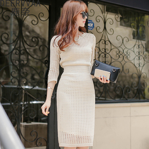 2020 spring women's new seven-point sleeve suit dress knitted hollow bag hip slim bottoming sweater mid-length