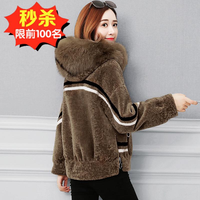 2020新款海宁狐狸毛羊剪绒大衣女装外套水貂皮草皮毛一体短款貂绒