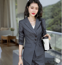 2021春秋条纹职业装lu8西装套装ft时尚不规则工作服名媛(小)香风