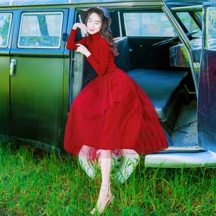 2017秋冬新款女装修身显瘦高领气质a字打底长袖针织红色连衣裙潮