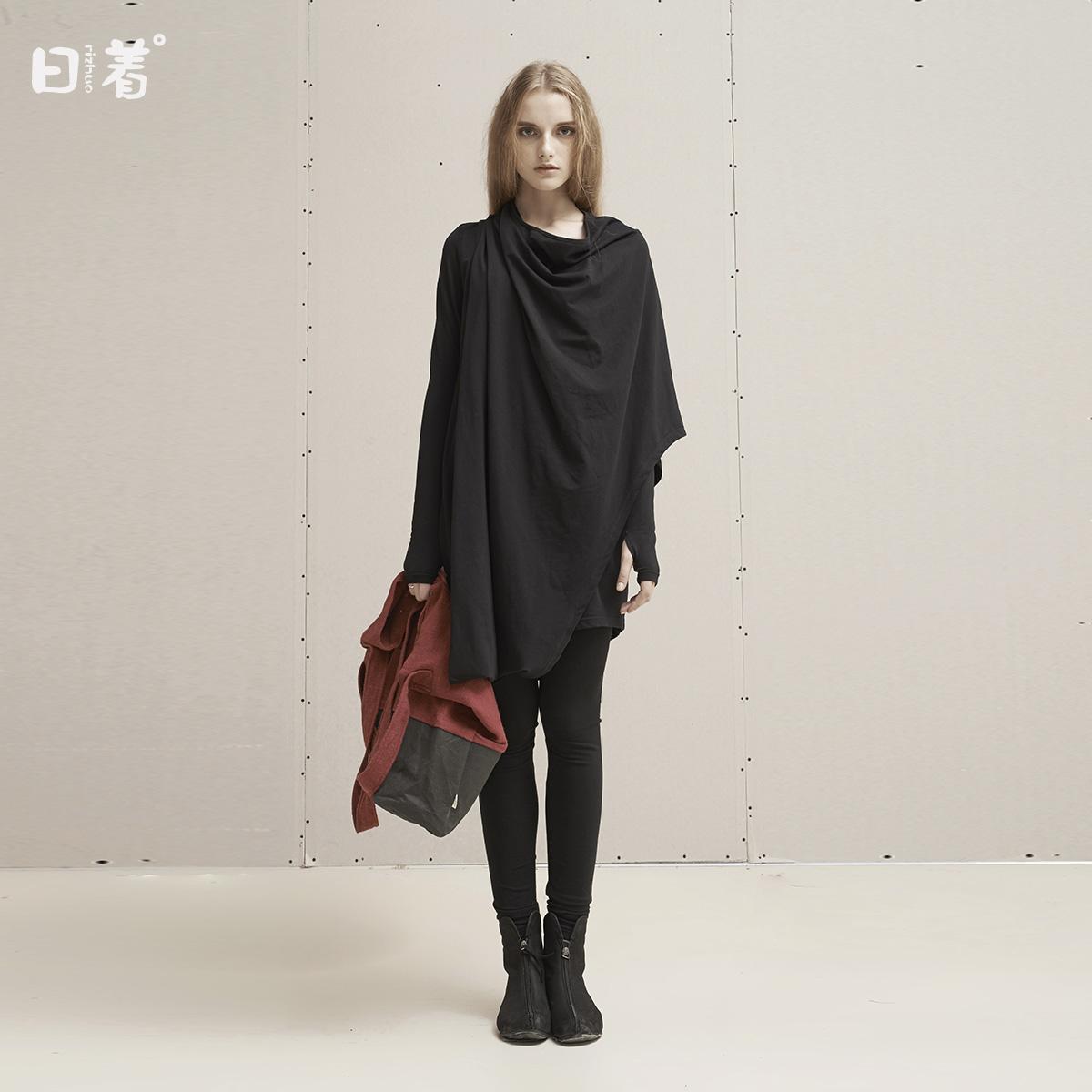 日着原创设计春秋装2017新款 假两件长袖秋款宽松连衣裙