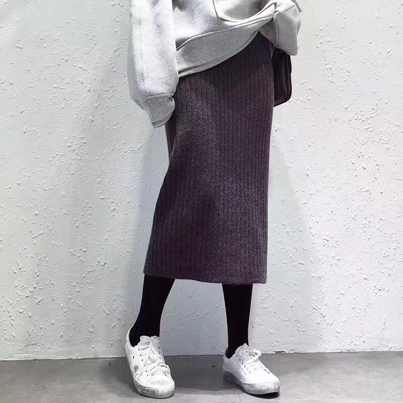 Miss菜头chic风高腰羊毛一步裙坑条松紧腰后开叉针织半身裙女长裙