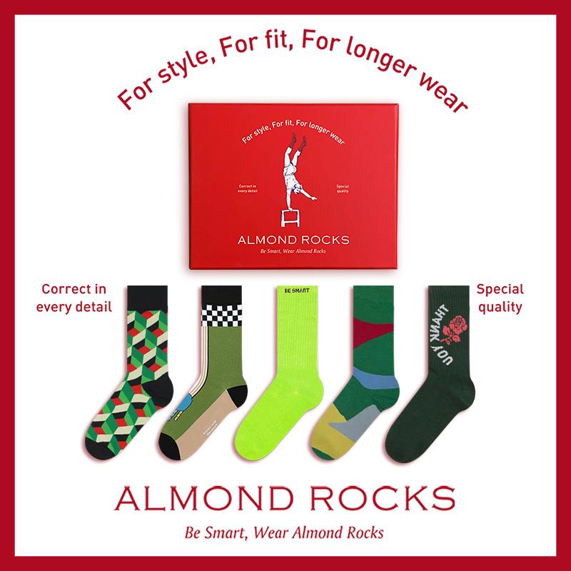 AlmondRocks原谅色组合男女情侣中筒袜绿色无废系列送礼礼盒5双装