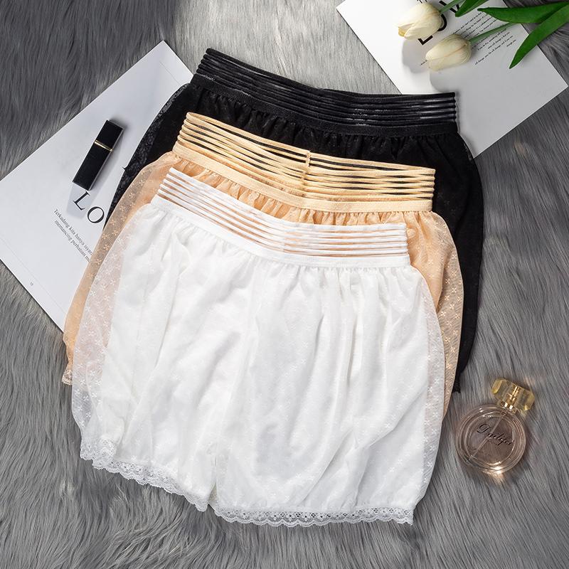 2019春夏季薄款安全裤防走光可外穿打底裤双层蕾丝性感三分短裤