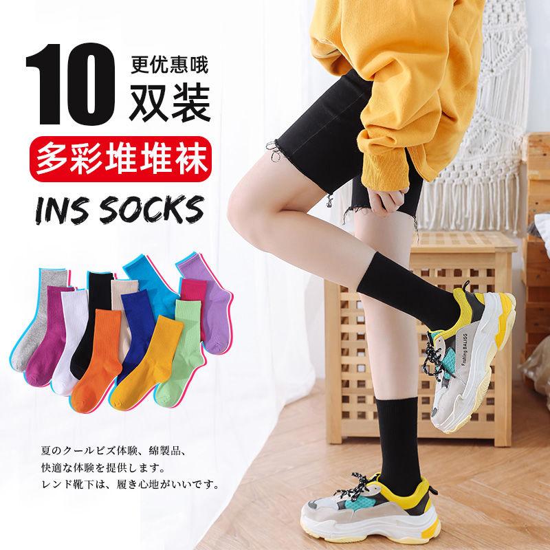 纯色袜子女中筒袜纯棉堆堆袜女夏季薄款夏天黑色白色长筒袜ins潮图片