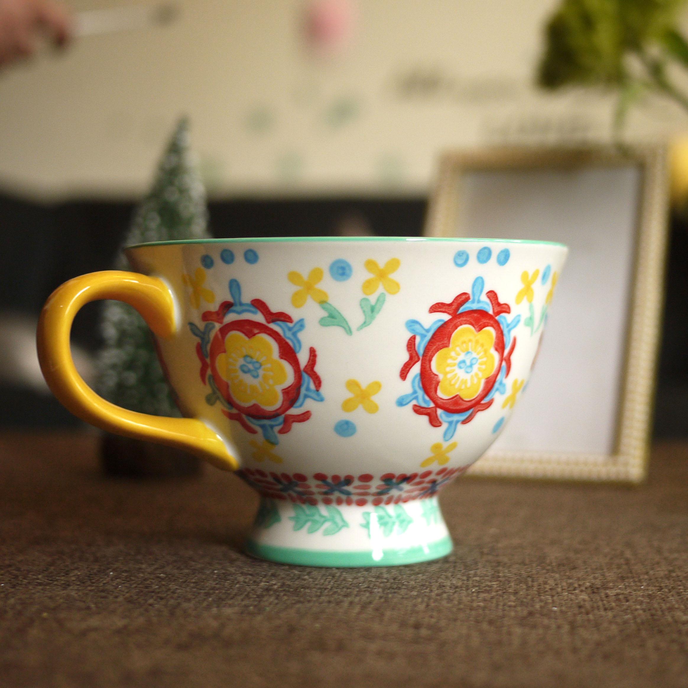 W1962出口英国小清新釉下手绘可爱小花茶杯/大口红茶杯/马克杯子