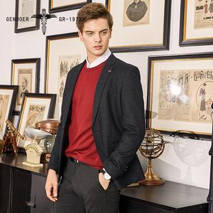 戈诺尔2019秋冬季新款男士西装休闲羊毛西装外套商务英伦正装黑色