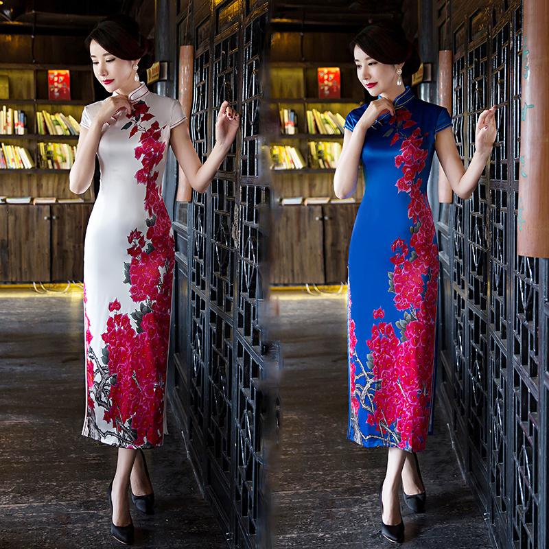 旗袍年轻款少女日常中国风复古走秀改良新式连衣裙春夏季长款优雅