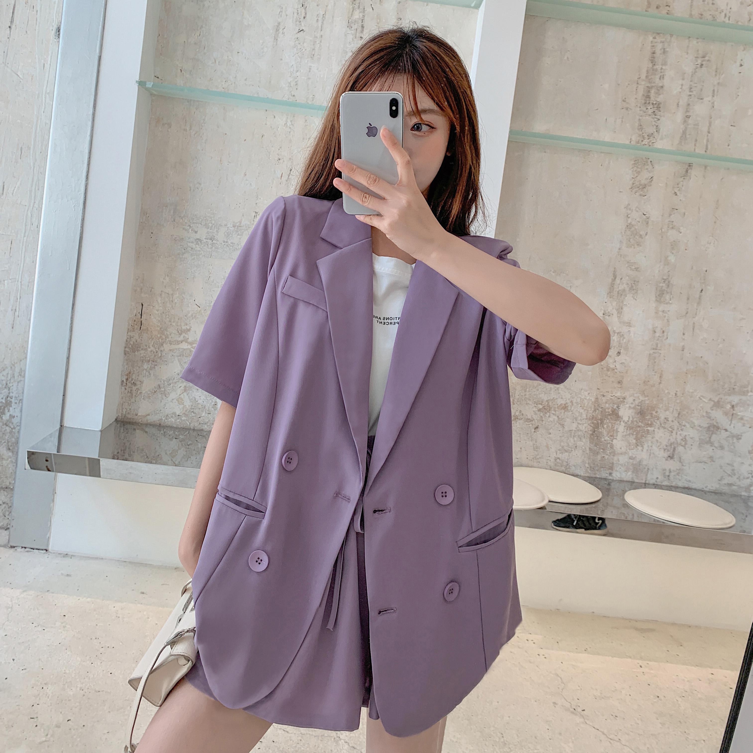 实拍现货961#西装套装女2020年夏新款减龄西服韩版洋气休闲两件套 -
