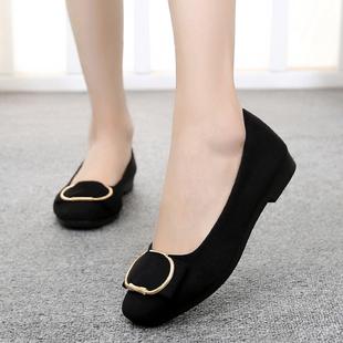 老北京布鞋女新款时尚软底平底上班豆豆单鞋黑色久站工作鞋不累脚图片
