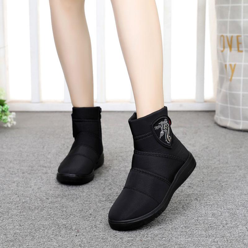 2018新款冬老北京布鞋女棉鞋加绒棉靴中筒防水羽绒雪地靴短筒短靴