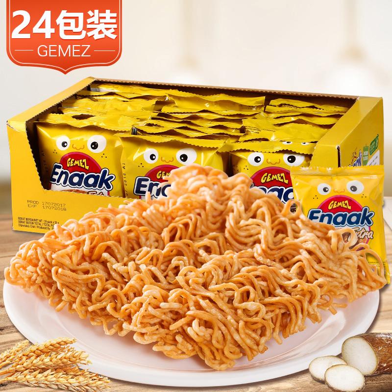 印尼进口零食小鸡面GEMEZ Enaak鸡肉味干脆面整箱30g*24包零食品
