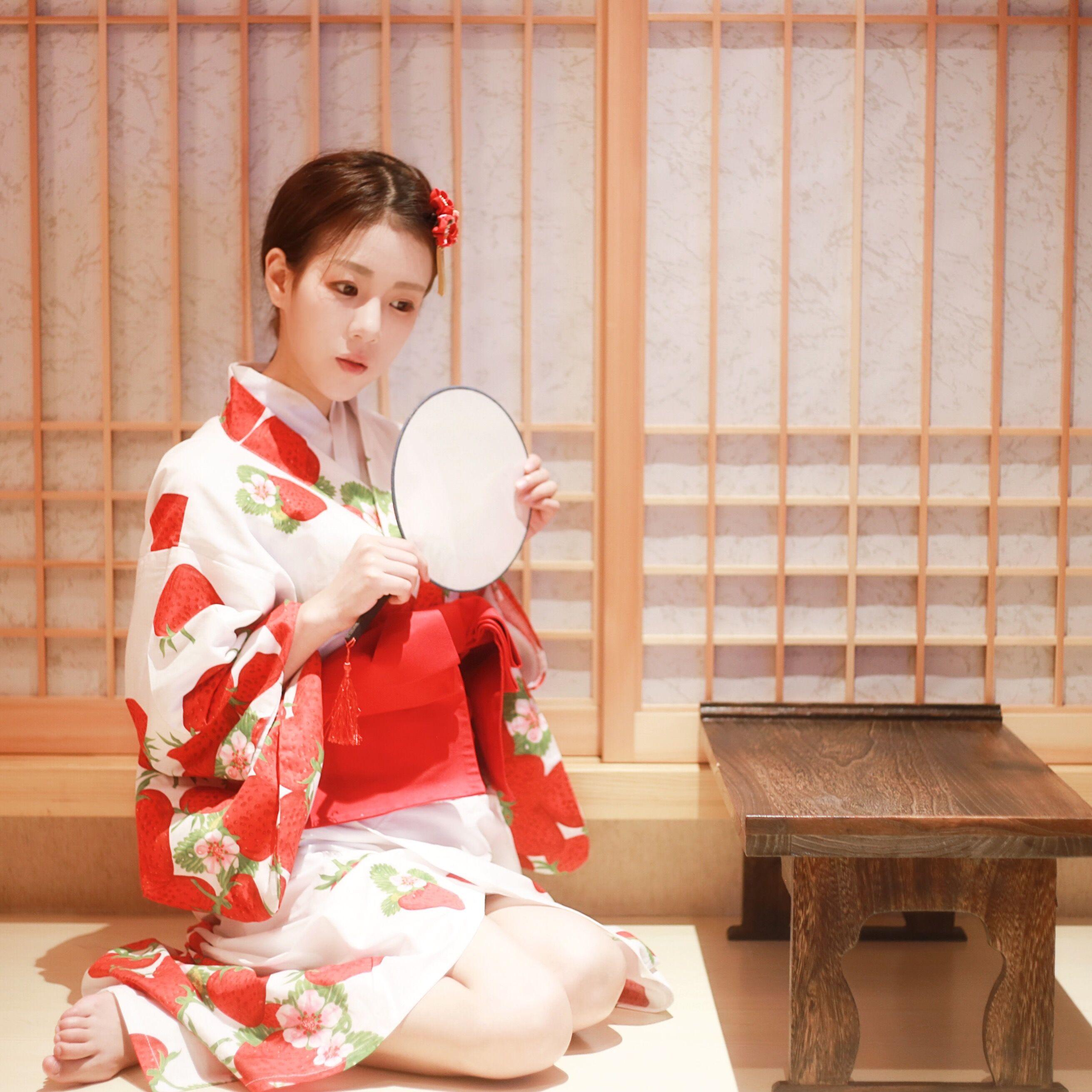 限时赏味日式和风浴衣女复古草莓少女连衣裙改良和服 现货