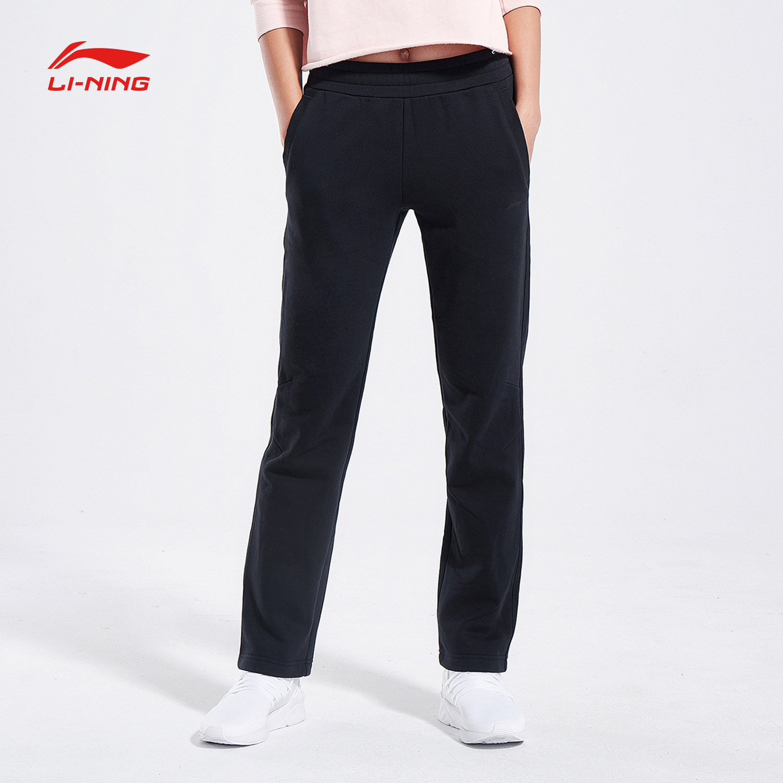 李宁卫裤女新款训练长裤裤子女装直筒休闲运动裤AKLN918