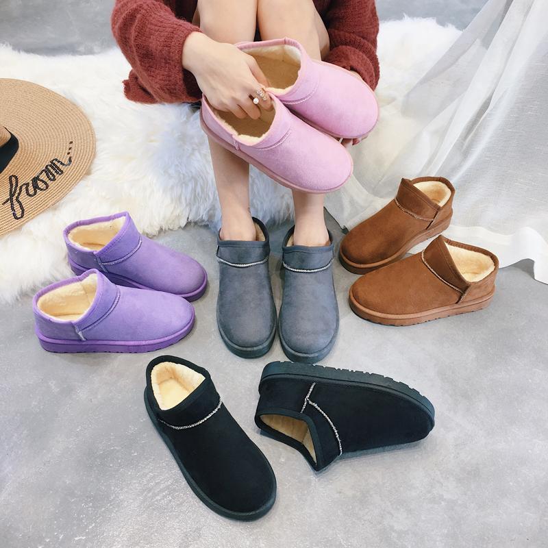雪地靴女2017冬季新款韩版百搭加绒加厚短靴保暖学生防滑棉靴子女