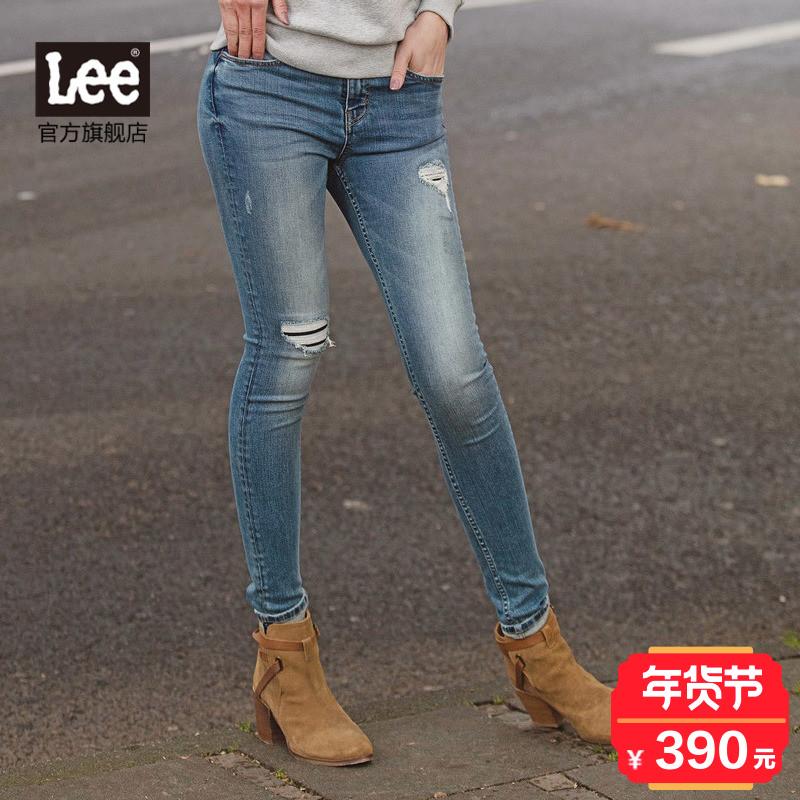 Lee女装 2017秋冬新品中腰窄脚贴身女士牛仔裤L124002MH7FE