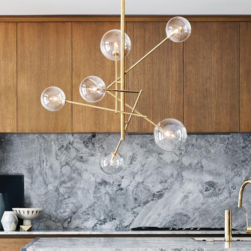 乐光客厅灯吊灯北欧创意美式田园餐厅后复古铁艺玻璃圆球魔豆吊灯-乐光灯饰